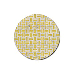 Woven1 White Marble & Yellow Colored Pencil (r) Rubber Coaster (round)  by trendistuff