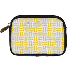 Woven1 White Marble & Yellow Colored Pencil (r) Digital Camera Cases by trendistuff
