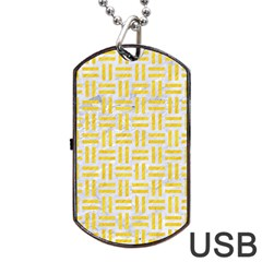 Woven1 White Marble & Yellow Colored Pencil (r) Dog Tag Usb Flash (two Sides) by trendistuff