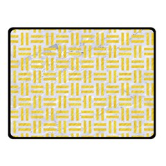 Woven1 White Marble & Yellow Colored Pencil (r) Double Sided Fleece Blanket (small)  by trendistuff