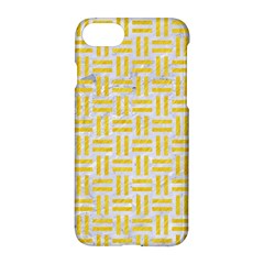 Woven1 White Marble & Yellow Colored Pencil (r) Apple Iphone 7 Hardshell Case by trendistuff