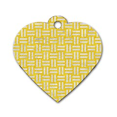 Woven1 White Marble & Yellow Colored Pencil Dog Tag Heart (one Side) by trendistuff
