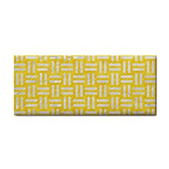 Woven1 White Marble & Yellow Colored Pencil Cosmetic Storage Cases by trendistuff