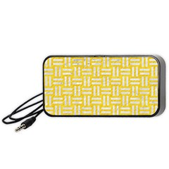 Woven1 White Marble & Yellow Colored Pencil Portable Speaker by trendistuff