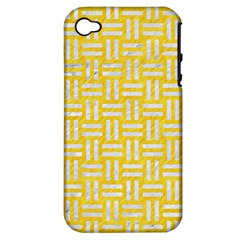 Woven1 White Marble & Yellow Colored Pencil Apple Iphone 4/4s Hardshell Case (pc+silicone) by trendistuff