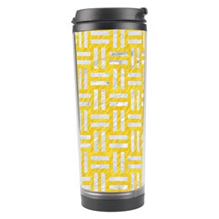 Woven1 White Marble & Yellow Colored Pencil Travel Tumbler by trendistuff
