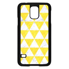 Triangle3 White Marble & Yellow Colored Pencil Samsung Galaxy S5 Case (black) by trendistuff