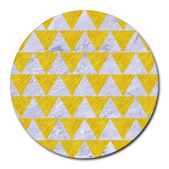 Triangle2 White Marble & Yellow Colored Pencil Round Mousepads by trendistuff