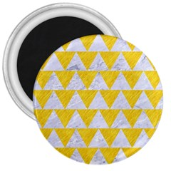 Triangle2 White Marble & Yellow Colored Pencil 3  Magnets by trendistuff