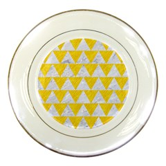 Triangle2 White Marble & Yellow Colored Pencil Porcelain Plates