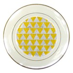 TRIANGLE2 WHITE MARBLE & YELLOW COLORED PENCIL Porcelain Plates Front