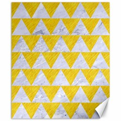 Triangle2 White Marble & Yellow Colored Pencil Canvas 8  X 10