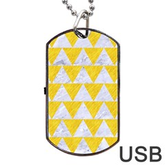 Triangle2 White Marble & Yellow Colored Pencil Dog Tag Usb Flash (one Side) by trendistuff