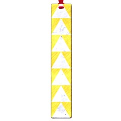 Triangle2 White Marble & Yellow Colored Pencil Large Book Marks by trendistuff