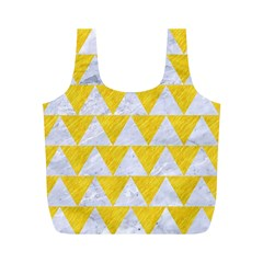 Triangle2 White Marble & Yellow Colored Pencil Full Print Recycle Bags (m)