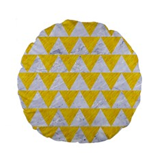 Triangle2 White Marble & Yellow Colored Pencil Standard 15  Premium Flano Round Cushions by trendistuff