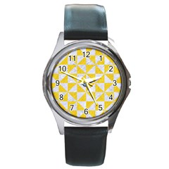 Triangle1 White Marble & Yellow Colored Pencil Round Metal Watch