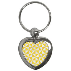 Triangle1 White Marble & Yellow Colored Pencil Key Chains (heart)  by trendistuff