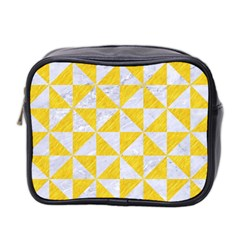 Triangle1 White Marble & Yellow Colored Pencil Mini Toiletries Bag 2 Side by trendistuff
