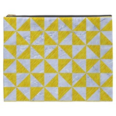 Triangle1 White Marble & Yellow Colored Pencil Cosmetic Bag (xxxl)  by trendistuff