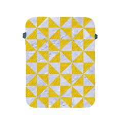 Triangle1 White Marble & Yellow Colored Pencil Apple Ipad 2/3/4 Protective Soft Cases by trendistuff