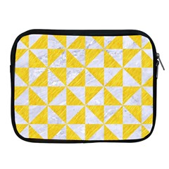 Triangle1 White Marble & Yellow Colored Pencil Apple Ipad 2/3/4 Zipper Cases by trendistuff