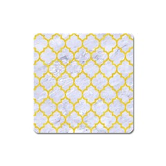 Tile1 White Marble & Yellow Colored Pencil (r) Square Magnet