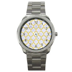 Tile1 White Marble & Yellow Colored Pencil (r) Sport Metal Watch by trendistuff