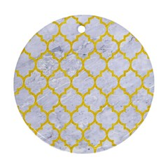 Tile1 White Marble & Yellow Colored Pencil (r) Round Ornament (two Sides) by trendistuff