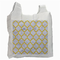 Tile1 White Marble & Yellow Colored Pencil (r) Recycle Bag (two Side)  by trendistuff