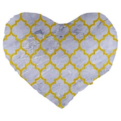 Tile1 White Marble & Yellow Colored Pencil (r) Large 19  Premium Heart Shape Cushions by trendistuff