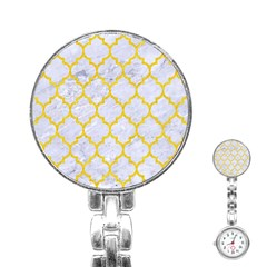 Tile1 White Marble & Yellow Colored Pencil (r) Stainless Steel Nurses Watch by trendistuff