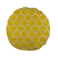 Tile1 White Marble & Yellow Colored Pencil Standard 15  Premium Flano Round Cushions by trendistuff