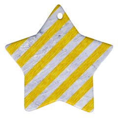 Stripes3 White Marble & Yellow Colored Pencil (r) Ornament (star) by trendistuff