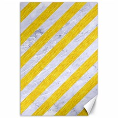 Stripes3 White Marble & Yellow Colored Pencil (r) Canvas 12  X 18   by trendistuff
