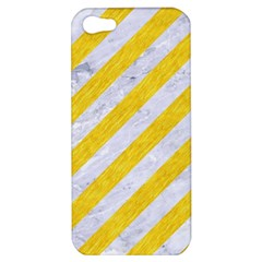 Stripes3 White Marble & Yellow Colored Pencil (r) Apple Iphone 5 Hardshell Case by trendistuff