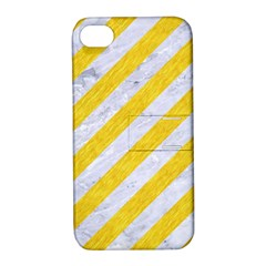 Stripes3 White Marble & Yellow Colored Pencil (r) Apple Iphone 4/4s Hardshell Case With Stand by trendistuff