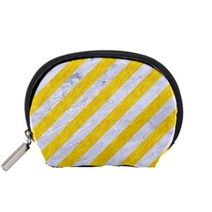 Stripes3 White Marble & Yellow Colored Pencil (r) Accessory Pouches (small)  by trendistuff