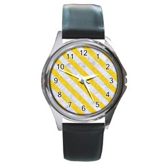 Stripes3 White Marble & Yellow Colored Pencil Round Metal Watch