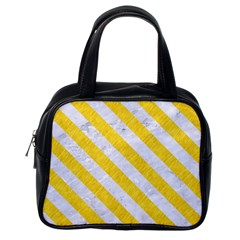 Stripes3 White Marble & Yellow Colored Pencil Classic Handbags (one Side) by trendistuff