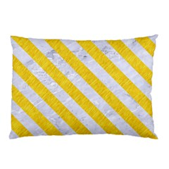 Stripes3 White Marble & Yellow Colored Pencil Pillow Case by trendistuff