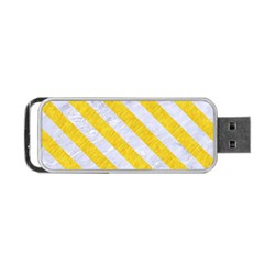 Stripes3 White Marble & Yellow Colored Pencil Portable Usb Flash (two Sides) by trendistuff