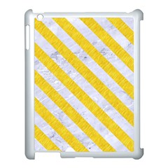 Stripes3 White Marble & Yellow Colored Pencil Apple Ipad 3/4 Case (white) by trendistuff