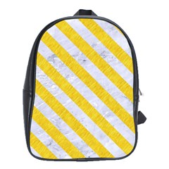 Stripes3 White Marble & Yellow Colored Pencil School Bag (xl) by trendistuff