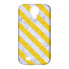 Stripes3 White Marble & Yellow Colored Pencil Samsung Galaxy S4 Classic Hardshell Case (pc+silicone)