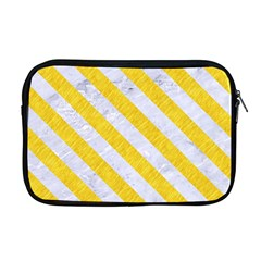 Stripes3 White Marble & Yellow Colored Pencil Apple Macbook Pro 17  Zipper Case by trendistuff