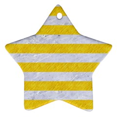 Stripes2white Marble & Yellow Colored Pencil Star Ornament (two Sides) by trendistuff