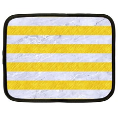 Stripes2white Marble & Yellow Colored Pencil Netbook Case (large) by trendistuff