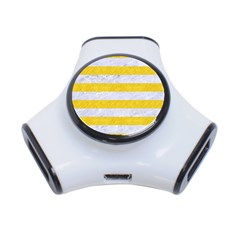 Stripes2white Marble & Yellow Colored Pencil 3 Port Usb Hub by trendistuff