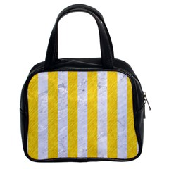 Stripes1 White Marble & Yellow Colored Pencil Classic Handbags (2 Sides) by trendistuff